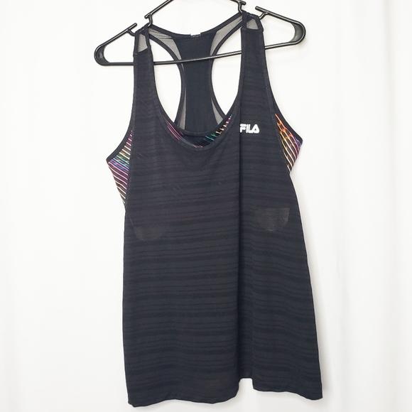 Fila Rainbow Bra Layered Workout Tank Athletic XL